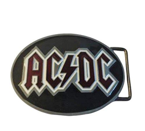 ACDC Lightning Rock Band Logo Metal Enamel BELT BUCKLE (Enamel Pewter Belt Buckle)