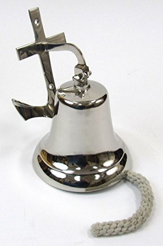 Chrome Plated Brass Ships Bell - Wall Mount Chrome-Plated Brass Ship's Bell W/ Anchor Bracket - 7