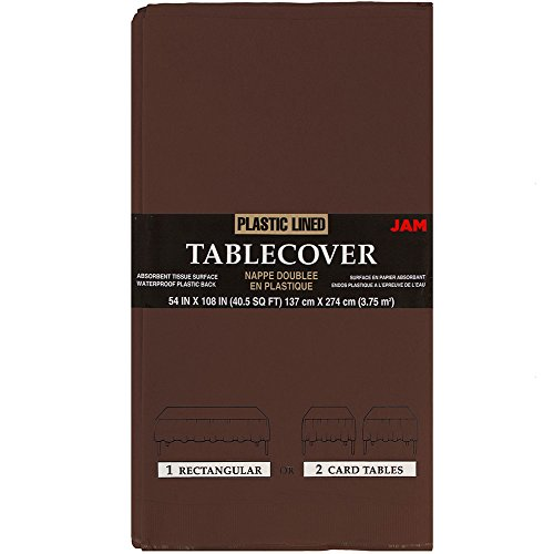 Cover Table Rectangular Paper (JAM Paper Rectangular Paper Table Cover - Chocolate Brown - 54