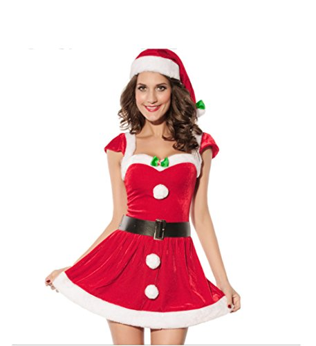 Women Santa's Christmas Costume Cosplay Dance Dress -