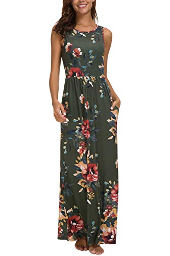 Zattcas Maxi Dresses for Women,Womens Crew Neck Sleeveless Summer Floral Maxi Dress with Pockets,Olive Green,Large