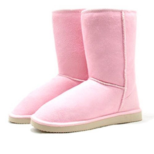 CHTIT Stiefeletten Stiefel Damen mit Abatz Flach Winter Schwarz Braun# SC007 (37EU/4UK/6.5US, Pink)