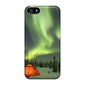 Slim Fit Protector Shock Absorbent Bumper Camping Under The Northern Lights Boreal Forest Canada Cases For Iphone 5/5s