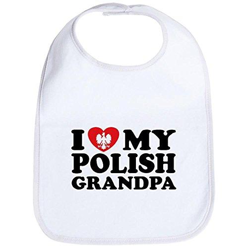 CafePress - I Love My Polish Grandpa Bib - Cute Cloth Baby Bib, Toddler - Bib Polish