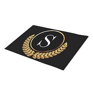 Palepink Elegant Black And Gold Monogrammed Door Mat