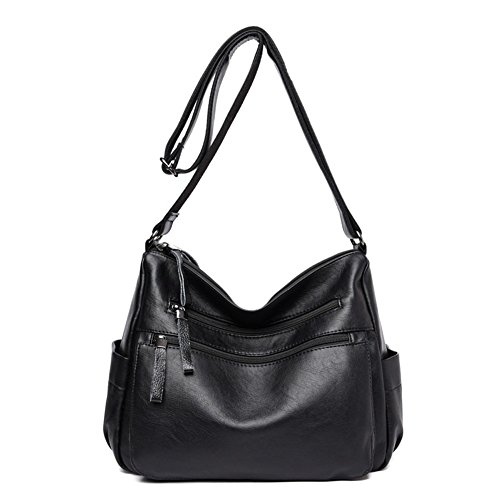 Sanxiner Women's Leather Multi-Pocket Crossbody Bag Trendy Handbag Shoulder Bags (A-Black) by Sanxiner
