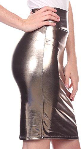 Mtallique Haute Brillante Gris Crayon Jupe Liquide Sakkas Femmes Finition Taille I0f1w