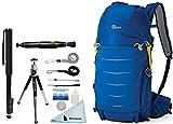 Lowepro Photo Sport BP 200 AW II Waterproof Photo Backpack (Blue) + Accessory Bundle For Canon, Nikon, Sony, Olympus, Pentax Digital SLR Cameras