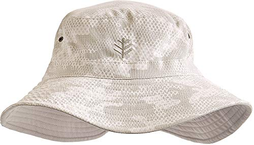 Coolibar UPF 50+ Men's Women's Reversible Bucket Hat - Sun Protective (Small/Medium- Highland Taupe Coolibar Camo)