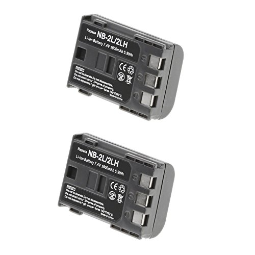 2 Pack of Canon E160814 Battery - Canon NB-2LH Battery for Canon Camera & Video Camera - Olympia Battery Brand (Battery Xti Pack)
