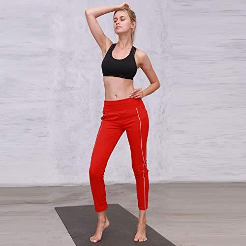 Elastico Casual Palestra Yoga Rosso Tasche Con Dragon868 Donne Donna Pantalone Pantalone w8qxpXx41z