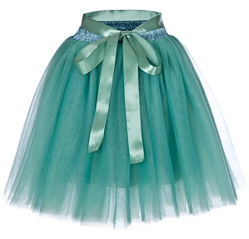 Women's High Waist Princess Tulle Skirt Adult Dance Petticoat A-line Wedding Party Tutu(Light green),One Size
