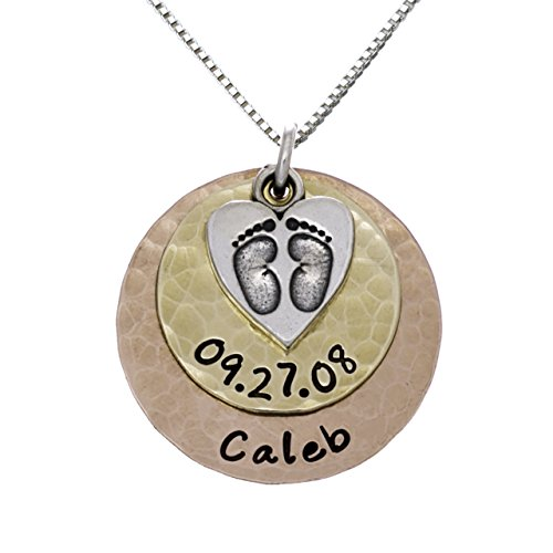 Baby First Foot Print Necklace with Customizable Sterling Silver, 14k Gold and Rose Gold Plated Discs With Names of Your Choice. Personalized Name Necklace For Her. Includes 925 Chain of your (14k Baby Box)