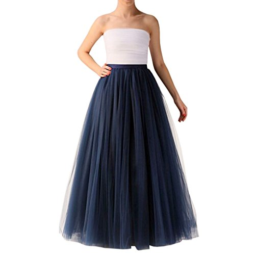- WDPL Long A Line Layered Princess Mesh Tulle Prom Party Skirt for Women (Medium, Navy Blue)