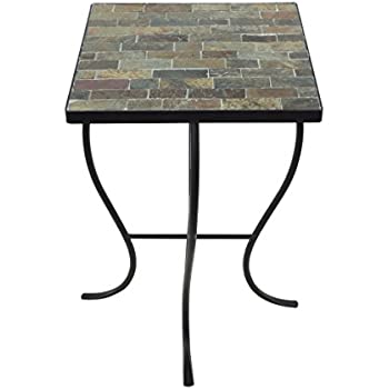 208 Fryar Design Mosaic Tile Square Top Table With Metal Base, Natural Slate