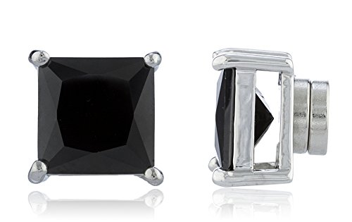 New-Improved-Silvertone-with-Black-Cz-Square-Magnetic-Stud-Earrings-4mm-to-12mm-Available