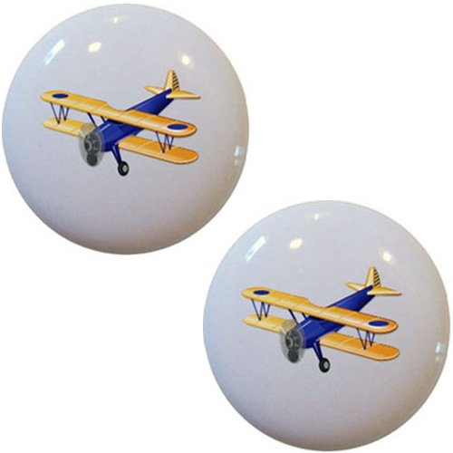 (Blue Airplane Biplane Ceramic Cabinet Drawer Pull Knob (Set of 2 Knobs))