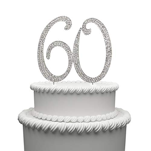 Hatcher lee 60 Cake Topper for 60 Years Birthday Or 60TH Wedding Anniversary Silver Crystal Rhinestone Party Decoration (Silver)