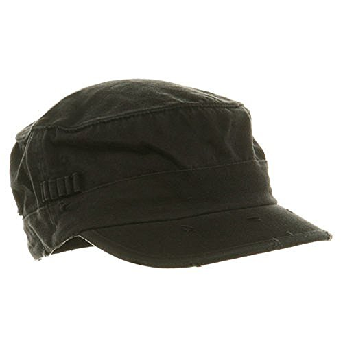 Washed Cotton Fitted Army Cap-Black