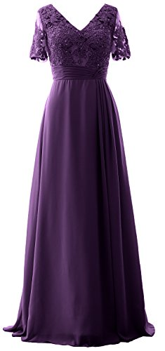 Gown MACloth Lace the Eggplant of Long Formal Bride Mother Evening Dress Short Sleeves wUqxtHUIAr