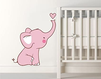 Baby Pink Elephant Wall Decal   Comes With FREE 12 Inch NAME DECAL    Printed Elephant