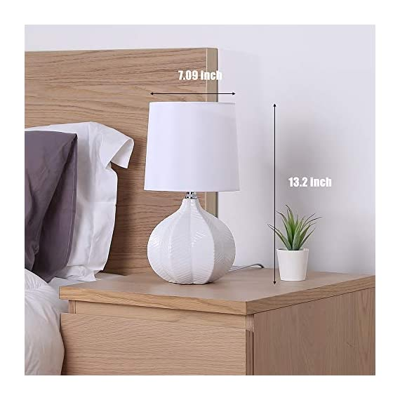 "SOTTAE Modern Style Small Ceramic Milk Color Unique Desgin Bedside Table Lamp, Cute Desk Lamp with White Fabric Shade for Livingroom Bedroom - Small cute size: Diameter: 7.09"", Height:13.2"", Attention: please clearly the size when you look through our product. Input: AC 110V - 120V. Lamp Can be used with LED, CFL, Incandescent Medium base bulbs(Bulbs are not included). Elegant design: Modern style, simple and chic ceramic lamp body with white fabric lampshade. - lamps, bedroom-decor, bedroom - 41pmq4CqzgL. SS570  -"