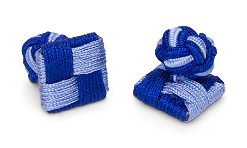 Sebastien Grey Square Silk Knot Cuff Link (Blue Tone-on-Tone Square Ball)