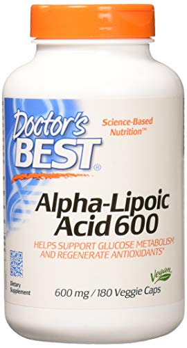 Doctor's Best Alpha-Lipoic Acid, Non-GMO, Gluten Free, Vegan, Soy Free, Helps Maintain Blood Sugar Levels, 600 mg 180 Veggie Caps (600 Mg 180 Capsules)