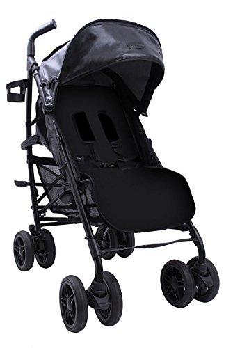 BabyLuxe - Silla de paseo - Chasis plata, base piel negra - Ou