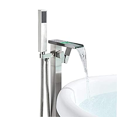 Rozin LED Light Waterfall Spout Floor Mounted Standing Bathtub Faucet with Handheld Shower Set Brushed Nickel
