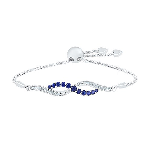 925 Sterling Silver White & Blue Round Sapphire Fashion Adjustable Bolo Bracelet by D-GOLD