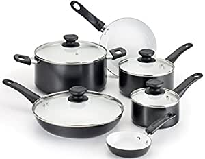WearEver A630SA Complete Nonstick Ceramic Coating Scratch-Resistant PTFE PFOA and Cadmium Free Dishwasher Safe Oven Safe Cookware Set, 10-Piece, Black