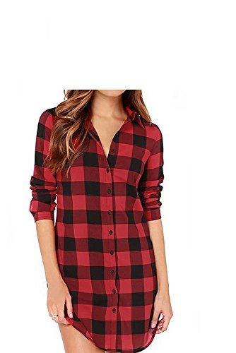 Vococal - Solapa Casual Camisa Cuadros Blusa de Manga Larga para Mujer,Color Rojo + Negro XL