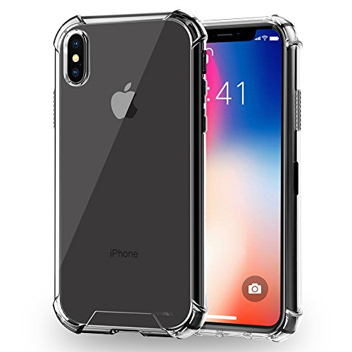 iPhone X Case, Ultra Thin and Slim Clear Soft TPU Bumper Hard Back Panel Anti-Scratch Protective Cover for Apple iPhone X 10 (Clear)