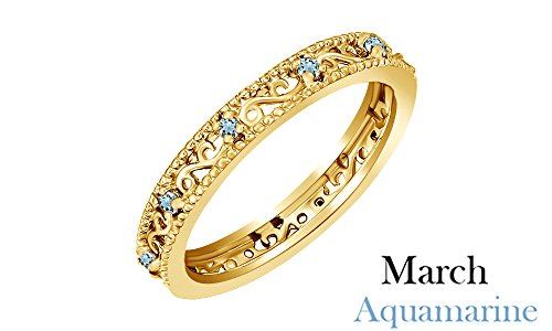 14k Gold Us Marine (March Birthstone Round Cut Blue Aquamarine Stackable Ring In 14K Yellow Gold Over Sterling Silver)