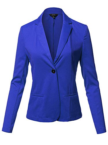 Solid Formal Single Button Up Long Sleeve Blazer Jacket Royal S
