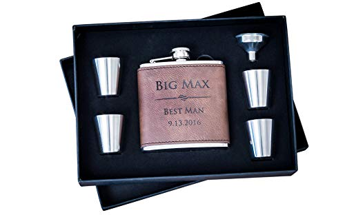 (Custom Engraved Hip Flask Set, Personalized Dark Brown Leather Flasks Groomsmen Gift- Box Set- Groomsman Whiskey Gifts For Men, Rustic Customized 6 oz #304 Steel 6pc)
