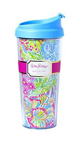 Lilly Pulitzer Tumbler - Lilly Pulitzer Thermal Mug, Lover's Coral