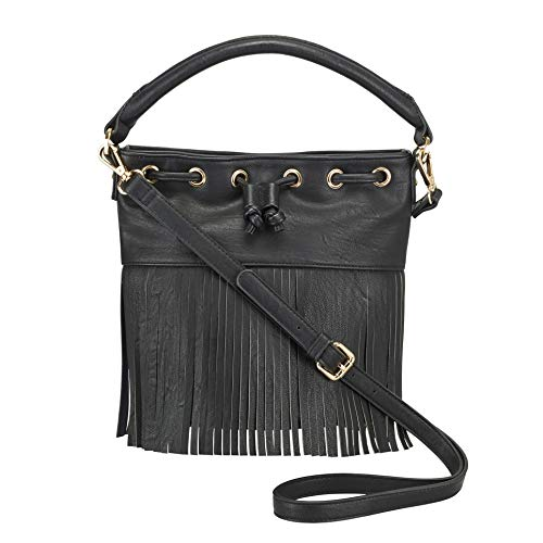 Naomi Campbell 22 Cm 12 Fringed Decorative Bucket X L21 Black Bag Collection Handbag Shoulder rrqZdCw
