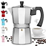 Zulay Classic Stovetop Espresso Maker for Great Flavored Strong Espresso, Classic Italian Style 5.5 Espresso Cup Moka Pot, Makes Delicious Coffee, Easy to Operate & Quick Cleanup Pot (Silver)