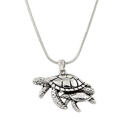 - Liav's Sea Turtle Mother & Baby Charm Pendant Fashionable Necklace / Rhodium Plated / 17 Snake Style Chain / Unique Gift and Souvenir by Liav's