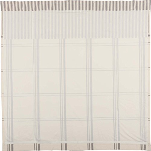 Piper Classics Market Place Shower Curtain, 72'' x 72'', Ticking Stripe w/Grey & Cream Plaid by Piper Classics (Image #2)