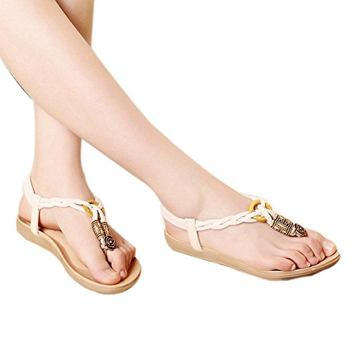 ZAMME Women's Girls Summer Open Toe Beaded Flip Flops Sandal Thongs White C7va5pVkD