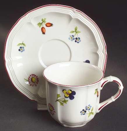 Villeroy & Boch Petite Fleur Flat Demitasse Cup & Saucer Set, Fine China Dinnerware
