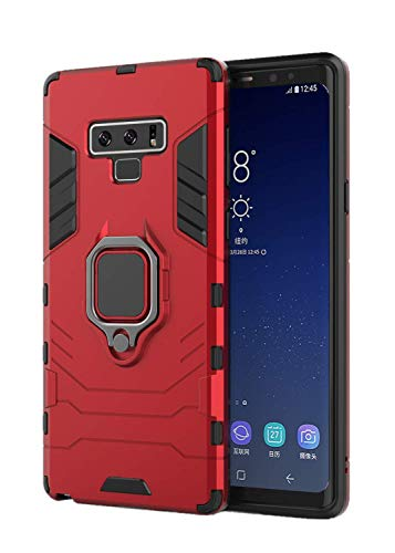 (for Samsung Galaxy Note 9 Case Soft TPU Hard Shell PC Protective Cover with Holder 360°Ring Grip case for Magnetic Car Mount (Red))