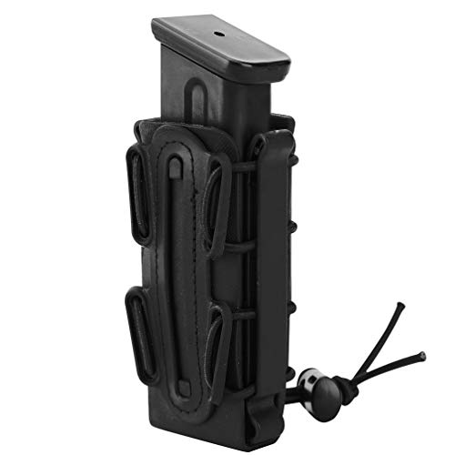 (Simways 9mm Pistol Mag Carrier Holster Soft Shell Tactical Magazine Pouch Holder with Molle Clip (Black))