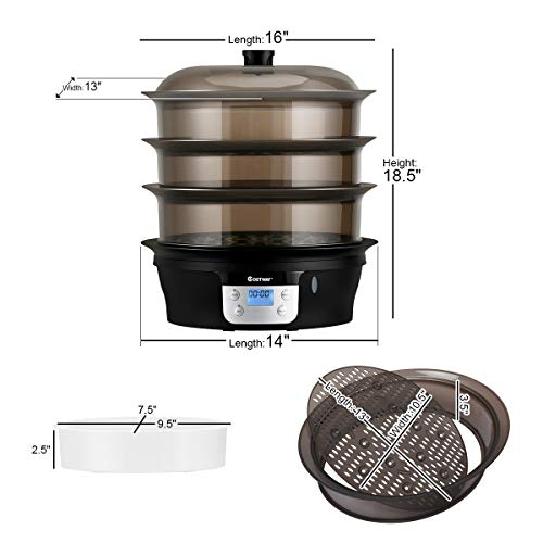COSTWAY Food Steamer Vegetable Steamer 3 Tier Stackable Baskets 20 Quart Capacity 1000W Fast Heat-Up Timing, Automatic Shut Off, Appointment Electric Pot Cooker w/Food Tray by COSTWAY (Image #4)