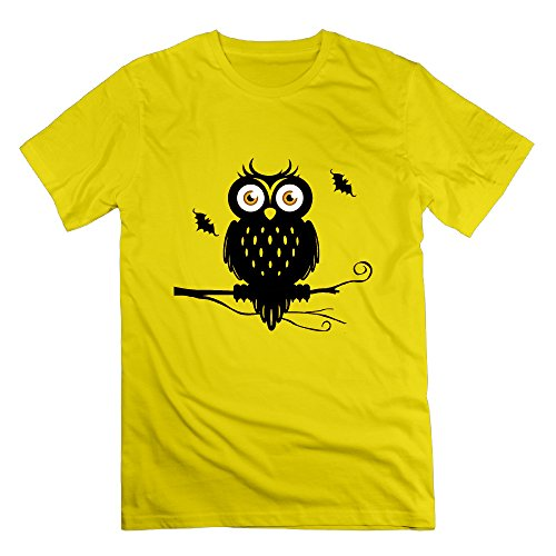 Men's New Design Halloween Costume Ideas Owls Tshirts Size XXL Color Yellow]()