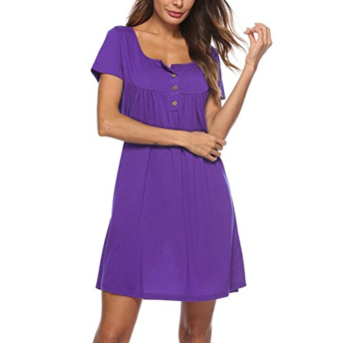 manica MIDI abito rosso XL swing estivo Dress scollatura pulsante camicia t QinMM sciolto Viola shirt sundress mini Solid corta abito Loose Abito abito donne casual O XSqSwga1d
