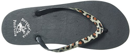 Beverly Hills Polo Club Leopard Womens Flip Flop Sandal Thong Silver JHjLj2XX0
